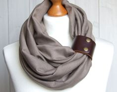 TAUPE Infinity Circle Scarf Shawl Loop with leather by Zojanka, $29.90