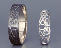 14K White Gold Eternity Wedding Rings Set by AverieJewelry