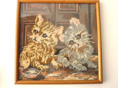 Pretty framed needlepoint ready to hang in a sturdy wood frame! Beautifully done piece with two sweet kittens as the focal point with colors that could compliment many rooms. Vintage Frames, Vintage Walls, Needlepoint Kits, Compliments, Vintage World Maps, Kittens, Wood, Pretty, Products