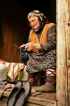 Knitting Warm Socks . Turkey