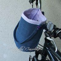 denim bike basket...link to tutorial...could be made from recyled jeans leg, or maybe for a wheel chair or walker!!!