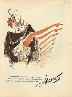Vintage Hanes stockings ad featuring a row of chorus line cancan dancers. #vintage #ads #stockings #hoisery
