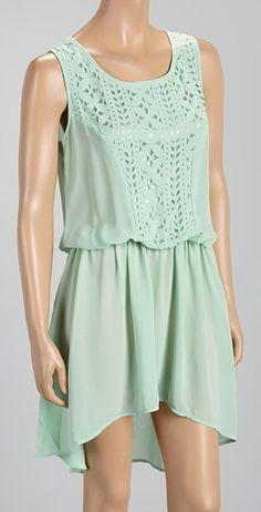 Mint Laser-Cut Sleeveless Dress