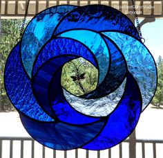 Stained Glass Suncatcher Dragonfly Swirl in Blues Abstract