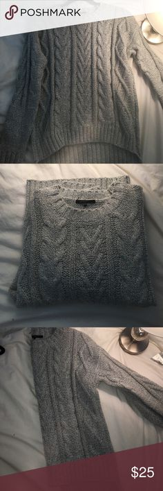 Cable-Knit Sweater Super cute w/ grey knit detailing. Thick and cozy. Great to pair with jeans, or a fall skirt. The Classic  Sweaters Crew & Scoop Necks