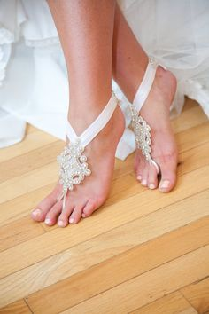 Ren'ee  Bridal Barefoot Sandals  Wedding Shoes  by StellasDesign