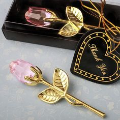 Choice Crystal Gold Long Stem Pink Rose  Bridal Gifts  Pink