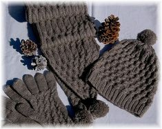 """Scarf, Hat & Gloves Set """"Campania Island"""", hand knit with un.-Scarf, Hat & Gloves Set """"Campania Island"""", hand knit with unique cable design in super soft Qiviut-Merino-Silk Blend – READY TO SHIP Scarf Hat & Gloves Set Campania Island hand knit - Scarf Hat, Long Scarf, Hand Knitting, Winter Hats, Gloves, Weaving, Island, Wool, Silk"""