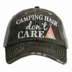 Camping Hair Don't Care Women's Trucker Hat by Katydid - GRAY/CORAL