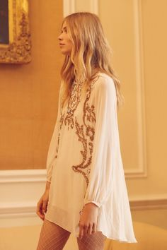 Ivory Just Like Heaven Mini Dress at Free People Clothing Boutique Style Hippie Chic, Bohemian Mode, Gypsy Style, Bohemian Style, Boho Chic, Boho Hippie, Moda Boho, Boho Fashion, Vintage Fashion