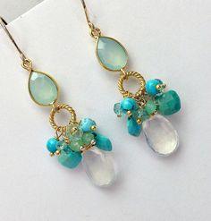 Aqua Dangle Earrings Turquoise Cluster Wire by DoolittleJewelry
