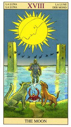 A Lua, Arcano Tarot Of New Vision por Pietro Alligo ilustrado por Raul y Gianluca Cestaro, baseado no Tarot de Rider-Waite. Cards Diy, Diy Tarot Cards, Tarot Card Decks, Wicca, Magick, Tarot Rider Waite, The Moon Tarot Card, Tarot Major Arcana, Vintage Playing Cards