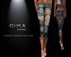 **GizzA** Grunge Flower Capri Jean
