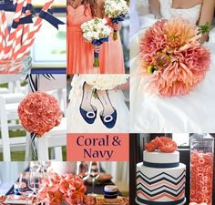 Coral and Navy Wedding Colors www.weddingcolorthemes.com/coral-weddings/