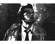 """Castiel"" - Charcoal Drawing by Mark Baranowski #Supernatural #SPN #Castiel #Misha Collins #art #charcoal"