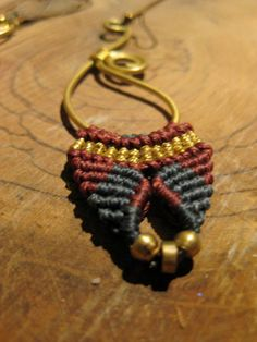 Brass and macrame earrings