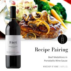 A great fall pairing idea - try this warming recipe of Beef Medallions in Portobello Wine Sauce with the Fact 2016 Cabernet Franc. Find the recipe in the Lifestyle section of my website! Wine Recipes, Great Recipes, Beef Medallions, Wine Shop At Home, Food Gift Baskets, Wine Tasting Experience, Wine Offers, Wine Sauce, Looks Yummy