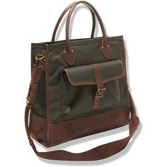 L.L.Bean Signature West Branch Tote Bag (9.065 RUB) ❤ liked on Polyvore featuring men's fashion, men's bags, mens leather tote bag, mens leather bags and mens tote bag