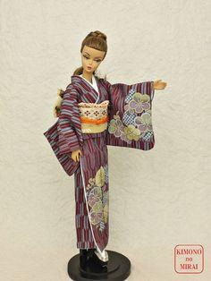 Japanese KIMONO dress,dolls Barbie,Poppy Parker,FR NIPPON Purple HOMONGI,OBI #KIMONOnoMIRAI