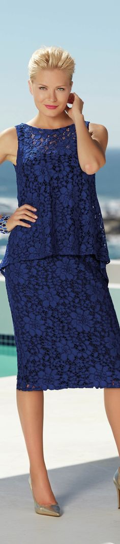 (this covers your tum and your bum) love - brilliant blue lace - love - http://www.boomerinas.com/2015/03/13/lace-is-still-hot-modern-ways-to-wear-lace-for-spring-summer-2015/