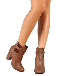 Tan Round toe Faux Leather Ankle Stacked Chunky Heel Vegan Bootie