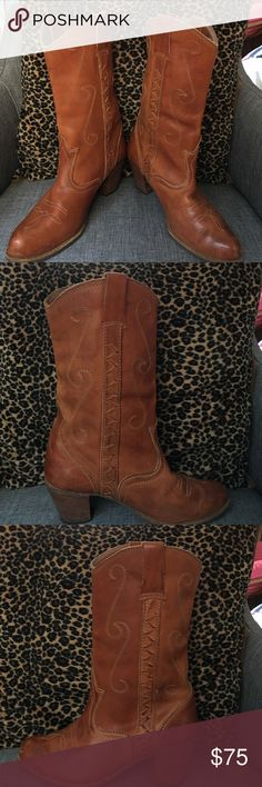 🌷cowgirl boots Light brown cowgirl boots. Great condition. Pair was my mothers - bought in the Late70s-early80s. Size 7.5 with 2.5inch heel. Few scuff marks from wear Shoes Heeled Boots
