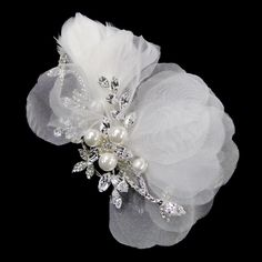 Pearl Ivory Sheer Organza Feather Rhinestone Bridal Wedding Hair Comb