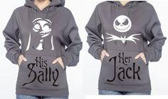 Personalized Wedding / Valentines Day Gift Couple Shirts Sweatshirts Hoodies Nightmare Before Christmas Jack Skellington / Sally