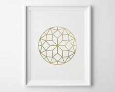 Geometric Circle Print, Modern Bedroom Decor, Minimal Art, Faux Gold Foil Faceted Circle, Modern Geometric Art, Gold and White Bedroom Art on Etsy, $14.24
