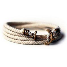 Kiel James Patrick Atlantic Whalers Lanyard Hitch Rope Bracelet, loving the anchor bracelets. Men's Accessories, Fashion Mode, Mens Fashion, Diy Fashion, Fashion 2014, Fashion Shoes, Mode Masculine, Bracelets For Men, Anchor Bracelets
