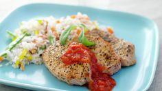 Svin ytrefilet med grønnsaksris og salsa