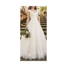 Long A Line Crystal Beading Tulle Wedding Dresses Full Sleeve Bridal... via Polyvore featuring dresses and wedding dresses