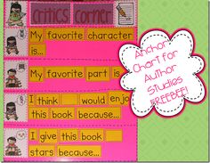 Anchor Chart for Author Study on kindergals freebee