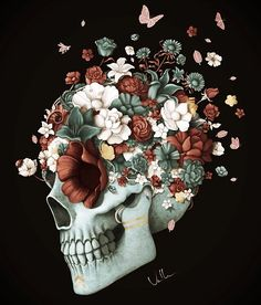"""""""Stop fearing death, or you will die of fear"""" Sugar Skull Art, Sugar Skulls, Skull Artwork, Skeleton Art, Skull Wallpaper, Medical Art, Anatomy Art, Cute Wallpapers, Art Inspo"""