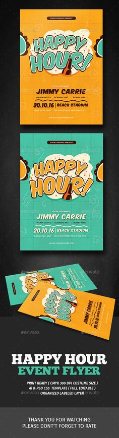 Retro Happy Hour Flyer  — PSD Template #club poster #happy hour promotion • Download ➝ https://graphicriver.net/item/retro-happy-hour-flyer/18007930?ref=pxcr