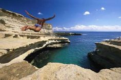 Anyone for cliff diving? Way too scary for us. But very cool.