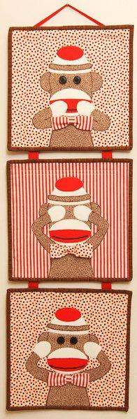Speak No Evil. See No Evil. Hear No Evil. Ain't that right Sock Monkey. Sock Monkey Nursery, Monkey Room, Sock Monkey Party, Pet Monkey, Wise Monkeys, Sock Monkeys, Quilting Tutorials, Quilting Projects, Year Of The Monkey