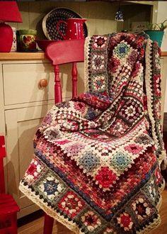 Granny throw in colours to match my kitchen. Love using Stylecraft Batik yarn