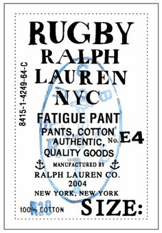 ROB HOWELL Label for Fatigue Pant for RUGBY RALPH LAUREN