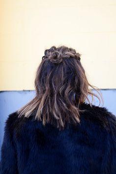 lob hairstyle easy braid topknot mini bun Covetandacquire.com