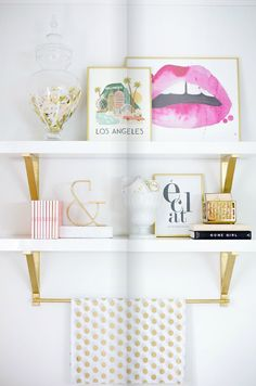 #studio #wall #shelf #decorating #goodness // #organizing #gold #pink #colors #props #details #prints #ampersand #confetti #books #inspirationboard #prints // #zorie #studio #space #ideas