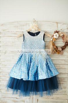 Ombre Sequin Navy Blue Tulle Wedding Flower Girl Dress - Flower Girl Dresses