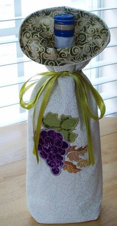 Wine Bottle Bag, Embroidered applique, grapes. $20.00, via Etsy.