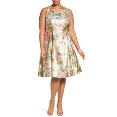 Plus Size Women's Adrianna Papell Metallic Floral Tea Length Dress ($269) ❤ liked on Polyvore featuring plus size women's fashion, plus size clothing, plus size dresses, gold multi, plus size, women's plus size dresses, plus size floral dresses, plus size tea length dresses and floral fit and flare dress