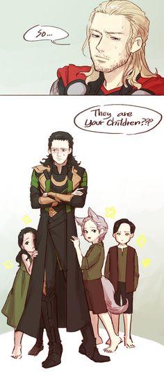 Little Hel and Finrir, and perhaps Jormungandar or Sleipnir in human form! ^u^ :3