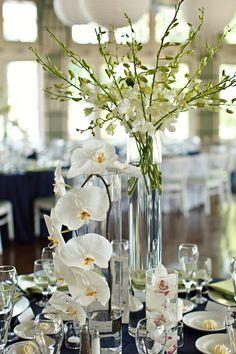 wedding chicks - real wedding - green, blue & white wedding - reception decor - table decor - centerpiece - phalaenopsis orchids, dendrobium orchids & cymbidium orchids