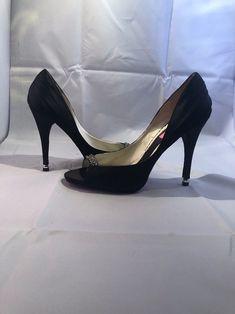 fccc3bfe97d Betsey Johnson Black Satin Rhinestone Peep Toe Size 9M  fashion  clothing   shoes