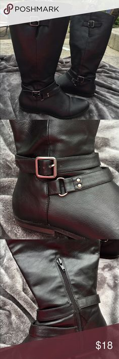 Black riding boots Flexible, comfy, cute, black riding boots have a little zipper on the sides with 2 cute buckles on the other side. 8 1/2 but can most likely fit 9. They end a little before the knee cap starts. Ask questions and make an offer/trade 😊 khols Shoes Combat & Moto Boots