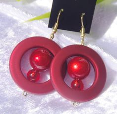 Red or Pink round circle earrings with by TwistedInTheTropics, $6.95