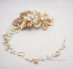 Gold Wedding Hair Vine Beaded Bridal Headband Of by BeSomethingNew